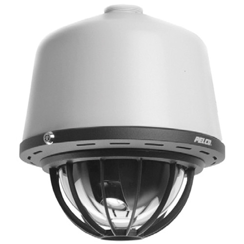 Pelco Spectra IV IP SD4E29-HCP0 H.264 Digital PTZ Dome Camera System with Heavy-Duty Pendant Housing, Protective Cage, & Smoked Bubble (Light Gray, NTSC)
