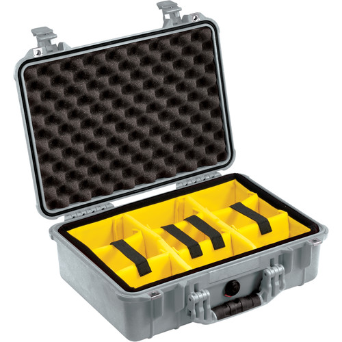 Pelican 1504 Waterproof 1500 Case with Yellow and Black Divider Set (Silver)