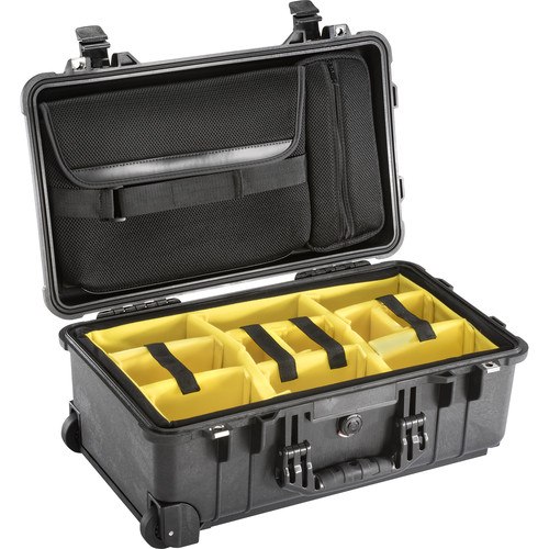 Pelican 1510SC Studio Case with Lid Organizer and Yellow Divider Set (Black)