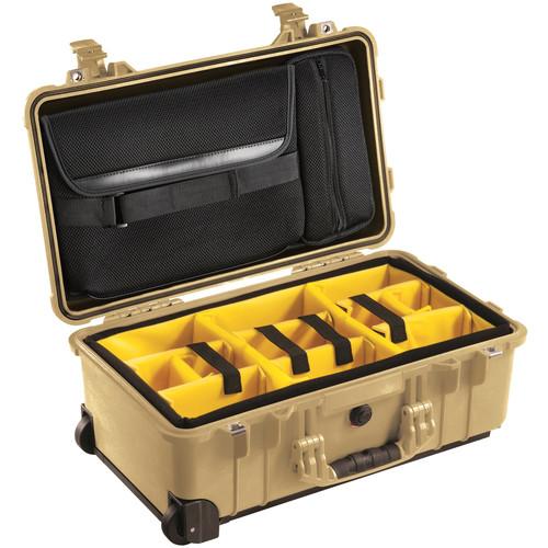 Pelican 1510SC Studio Case with Lid Organizer and Yellow Divider Set (Desert Tan)