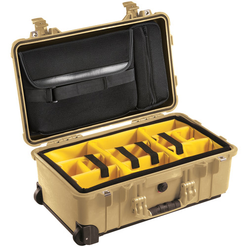 Pelican 1510SC Studio Case with Lid Organizer and Yellow Divider Set (Desert Tan)