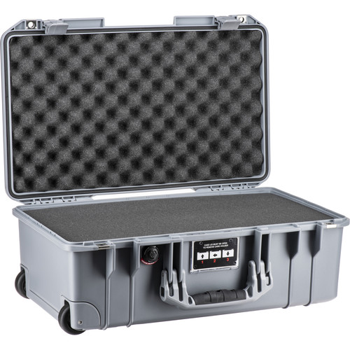 Pelican 1535Air Wheeled Carry-On Case (Silver, with Pick-N-Pluck Foam)