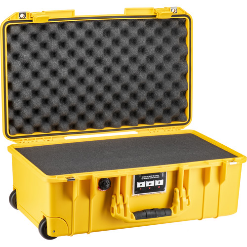 Pelican 1535Air 2017 Wheeled Carry-On Case with Pick-N-Pluck Foam (Yellow)