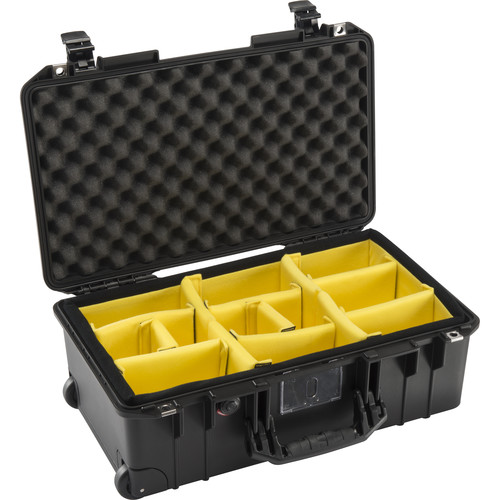 Pelican 1535 AirWD Wheeled Carry-On Case (Black, with Dividers 2017)