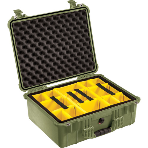 Pelican 1554 Waterproof 1550 Case with Yellow and Black Divider Set (Olive Drab Green)