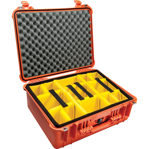 Pelican 1554 Waterproof 1550 Case with Yellow and Black Divider Set (Orange)