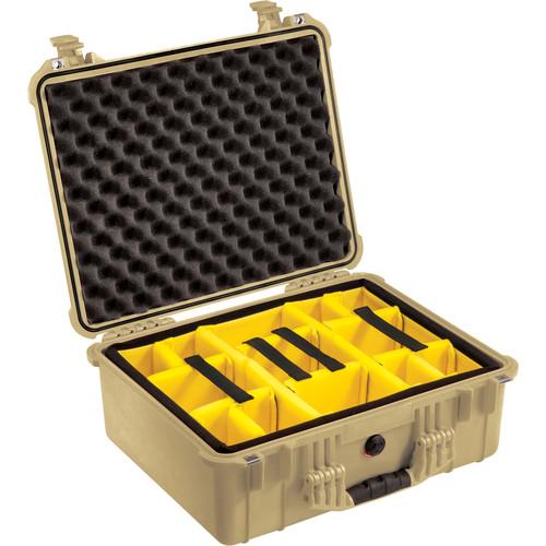 Pelican 1554 Waterproof 1550 Case with Yellow and Black Divider Set (Desert Tan)