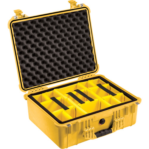 Pelican 1554 Waterproof 1550 Case with Yellow and Black Divider Set (Yellow)