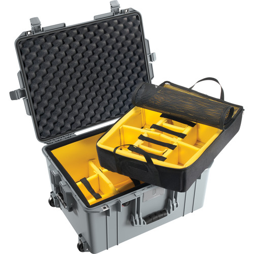 Pelican 1607 Air Case (Silver, Padded Dividers)