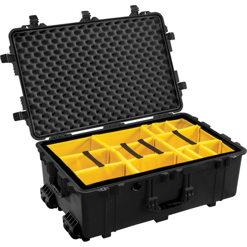 Pelican 1654 Waterproof 1650 Case with Yellow and Black Divider Set (Black)