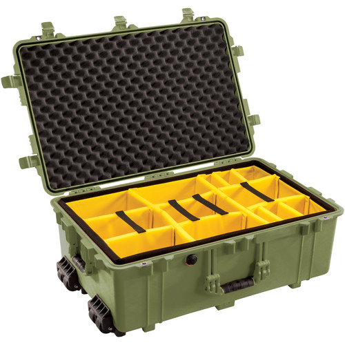 Pelican 1654 Waterproof 1650 Case with Yellow and Black Divider Set (Olive Drab Green)