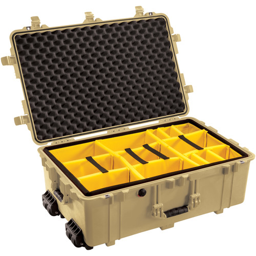 Pelican 1654 Waterproof 1650 Case with Yellow and Black Divider Set (Desert Tan)