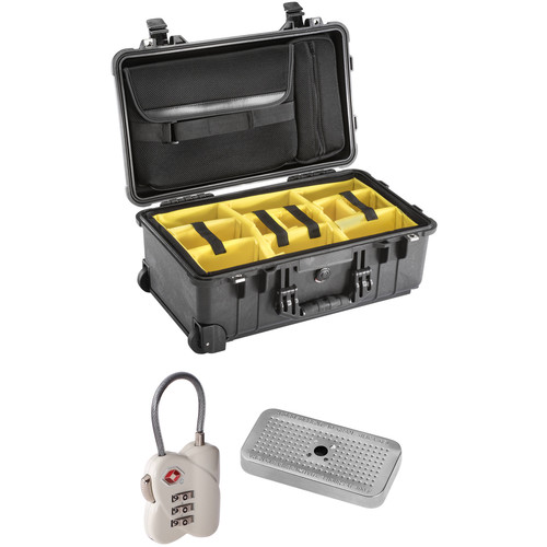Pelican 1510SC Studio Case with Lid Organizer and Yellow Divider Set, TSA Lock, Desiccant Gel (Black, B&H Kit)