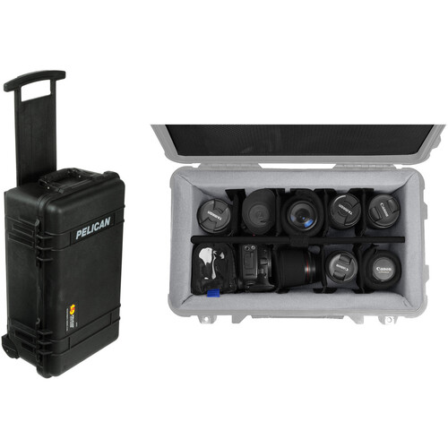 Pelican 1510NF Carry on Case with Porta Brace LongLife Divider Kit (Black)