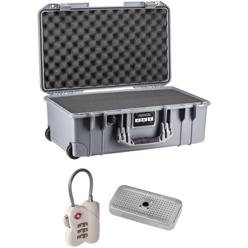 Pelican 1535 Air Case Kit with Foam Set, TSA Lock, & Desiccant Gel (Silver)