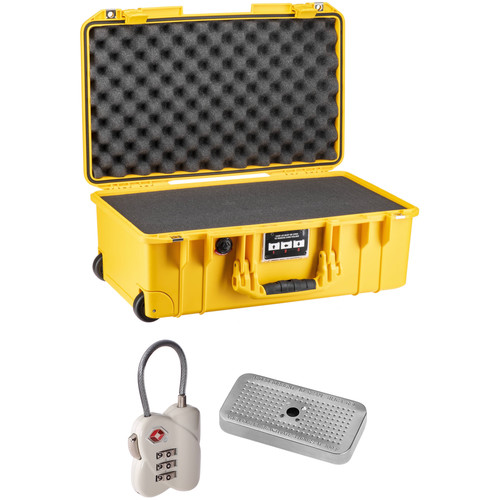 Pelican 1535Air Wheeled Carry-On Case with Foam, TSA Lock, Desiccant Gel (Yellow, B&H Kit)