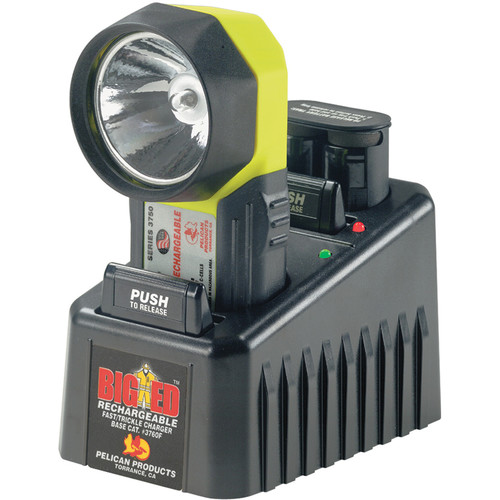 Pelican 3750 Big ED Flashlight with AC 240V Adapter and Base (Yellow)