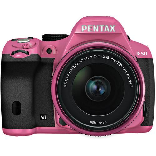 Pentax K-50 Digital SLR Camera with 18-55mm f/3.5-5.6 Lens (Pink/Black)