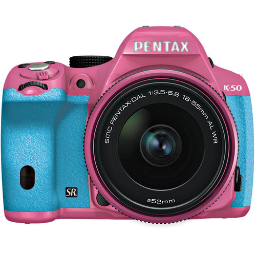 Pentax K-50 Digital SLR Camera with 18-55mm f/3.5-5.6 Lens (Pink/Aqua)