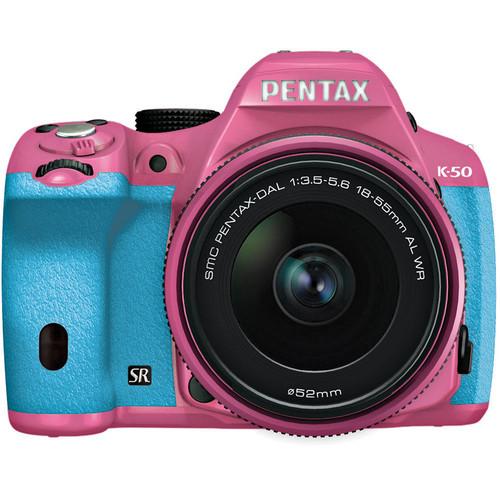 Pentax K-50 Digital SLR Camera with 18-55mm f/3.5-5.6 Lens (Pink/Aqua)