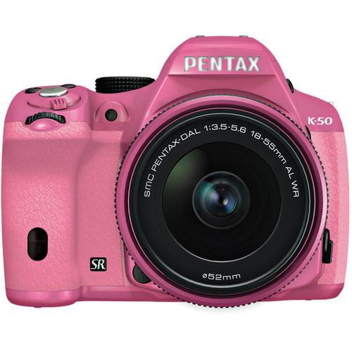 Pentax K-50 Digital SLR Camera with 18-55mm f/3.5-5.6 Lens (Pink/Pink)