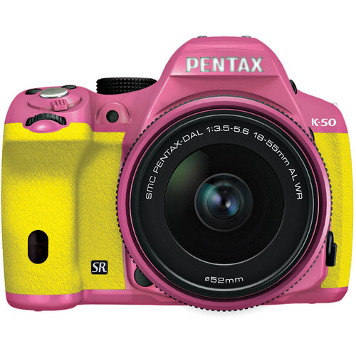 Pentax K-50 Digital SLR Camera with 18-55mm f/3.5-5.6 Lens (Pink/Yellow)