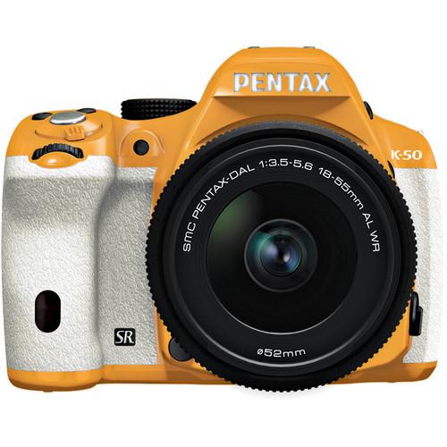 Pentax K-50 Digital SLR Camera with 18-55mm f/3.5-5.6 Lens (Orange/White)