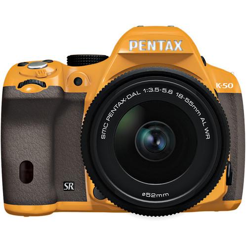 Pentax K-50 Digital SLR Camera with 18-55mm f/3.5-5.6 Lens (Orange/Brown)