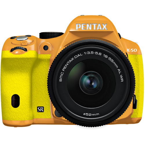 Pentax K-50 Digital SLR Camera with 18-55mm f/3.5-5.6 Lens (Orange/Yellow)