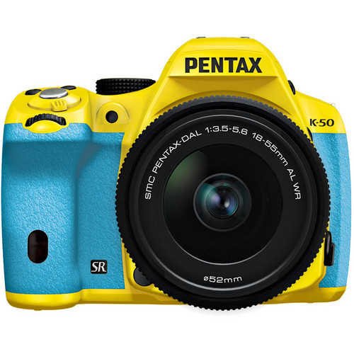 Pentax K-50 Digital SLR Camera with 18-55mm f/3.5-5.6 Lens (Yellow/Aqua)