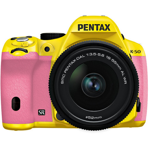 Pentax K-50 Digital SLR Camera with 18-55mm f/3.5-5.6 Lens (Yellow/Pink)