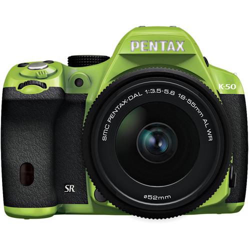 Pentax K-50 Digital SLR Camera with 18-55mm f/3.5-5.6 Lens (Green/Black)
