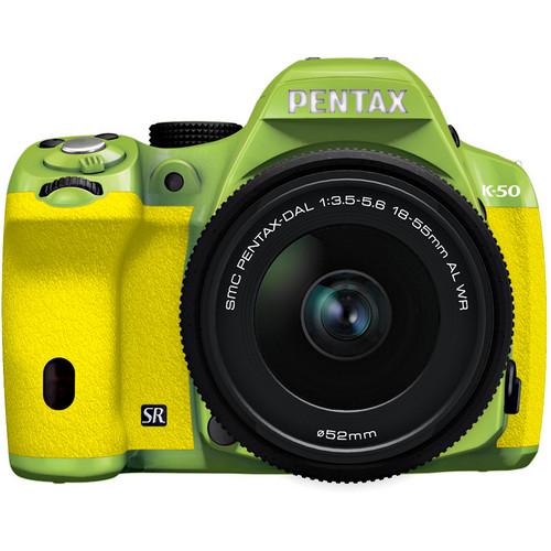 Pentax K-50 Digital SLR Camera with 18-55mm f/3.5-5.6 Lens (Green/Yellow)