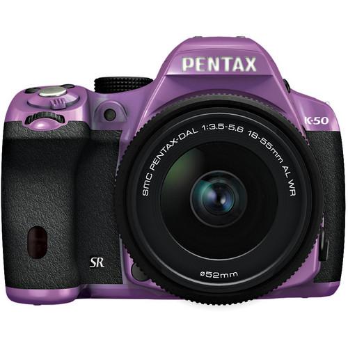 Pentax K-50 Digital SLR Camera with 18-55mm f/3.5-5.6 Lens (Purple/Black)