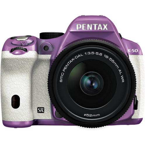 Pentax K-50 Digital SLR Camera with 18-55mm f/3.5-5.6 Lens (Purple/White)