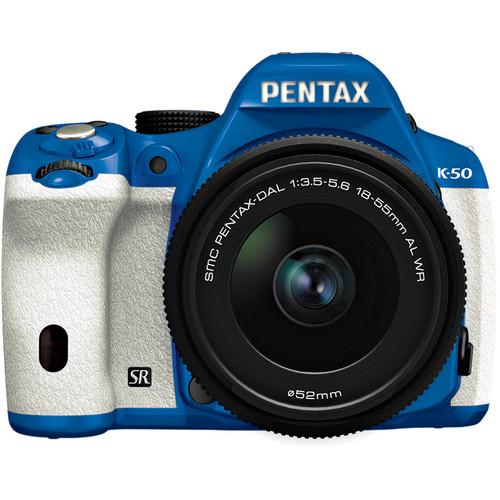 Pentax K-50 Digital SLR Camera with 18-55mm f/3.5-5.6 Lens (Blue/White)