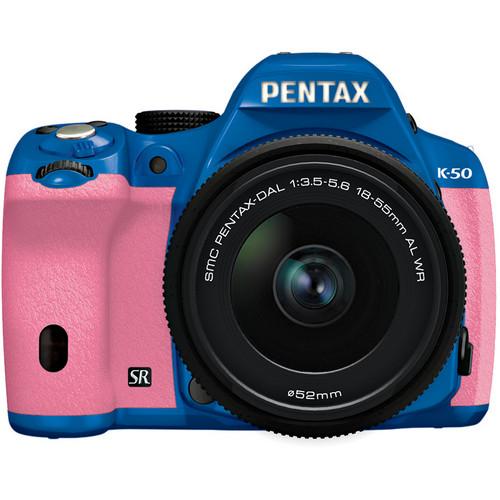 Pentax K-50 Digital SLR Camera with 18-55mm f/3.5-5.6 Lens (Blue/Pink)