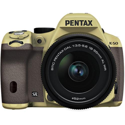 Pentax K-50 Digital SLR Camera with 18-55mm f/3.5-5.6 Lens (Sand Beige/Brown)