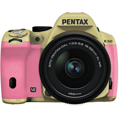 Pentax K-50 Digital SLR Camera with 18-55mm f/3.5-5.6 Lens (Sand Beige/Pink)