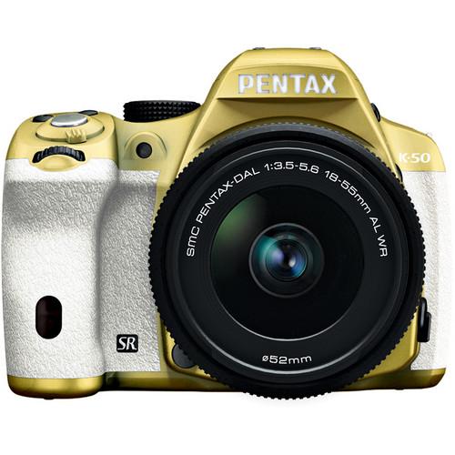 Pentax K-50 Digital SLR Camera with 18-55mm f/3.5-5.6 Lens (Gold/White)