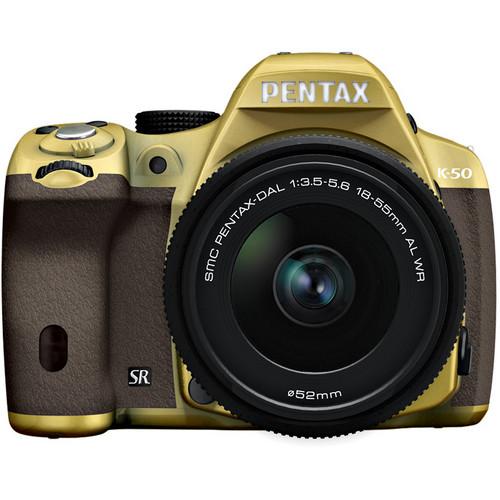Pentax K-50 Digital SLR Camera with 18-55mm f/3.5-5.6 Lens (Gold/Brown)