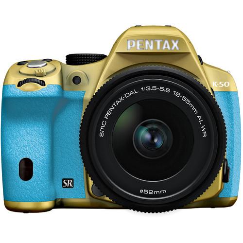 Pentax K-50 Digital SLR Camera with 18-55mm f/3.5-5.6 Lens (Gold/Aqua)