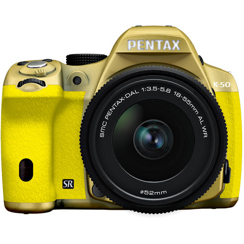 Pentax K-50 Digital SLR Camera with 18-55mm f/3.5-5.6 Lens (Gold/Yellow)