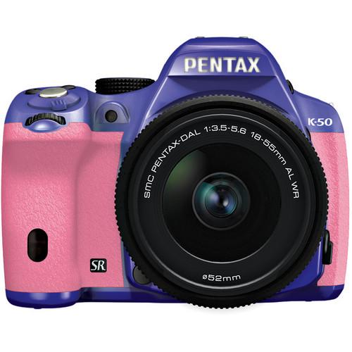 Pentax K-50 Digital SLR Camera with 18-55mm f/3.5-5.6 Lens (Violet/Pink)