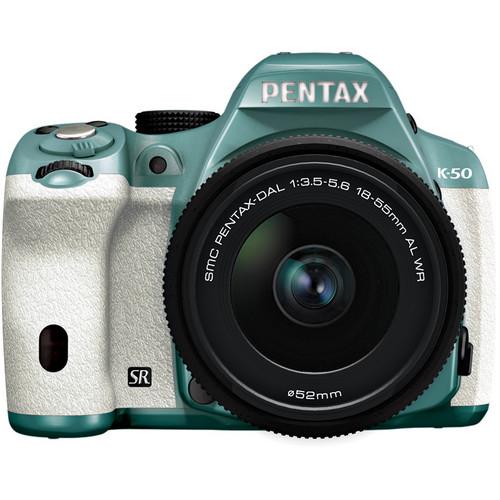 Pentax K-50 Digital SLR Camera with 18-55mm f/3.5-5.6 Lens (Mint/White)