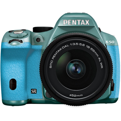 Pentax K-50 Digital SLR Camera with 18-55mm f/3.5-5.6 Lens (Mint/Aqua)