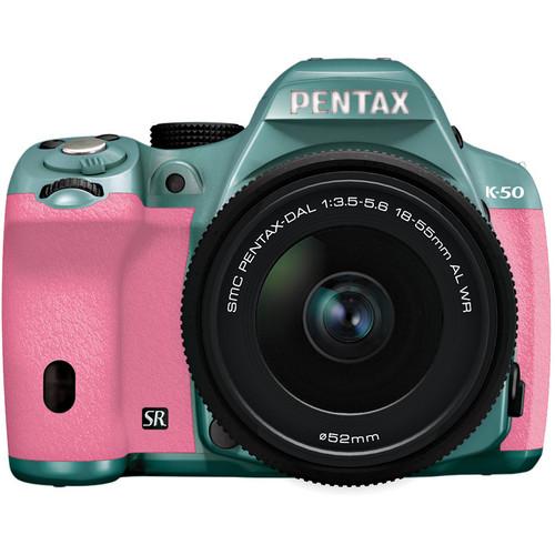 Pentax K-50 Digital SLR Camera with 18-55mm f/3.5-5.6 Lens (Mint/Pink)