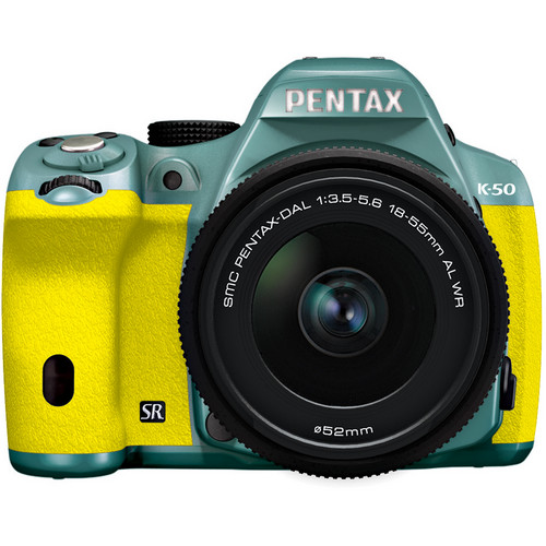 Pentax K-50 Digital SLR Camera with 18-55mm f/3.5-5.6 Lens (Mint/Yellow)