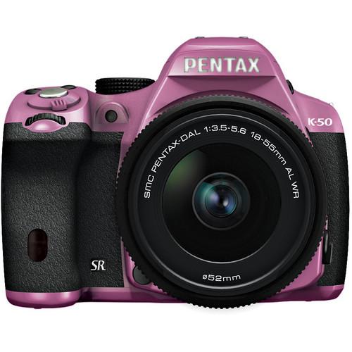 Pentax K-50 Digital SLR Camera with 18-55mm f/3.5-5.6 Lens (Lilac/Black)