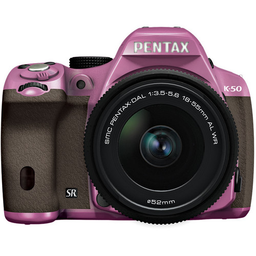 Pentax K-50 Digital SLR Camera with 18-55mm f/3.5-5.6 Lens (Lilac/Brown)